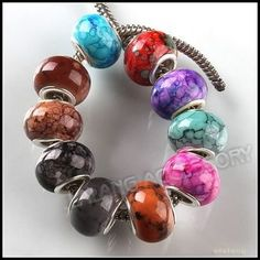 Mixed Colors Resin Charms European Beads Hole