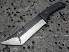 Orc Tactical: Custom knife. Made from NC6 high carbon alloy steel with micarta black handle and etched tribal pattern.