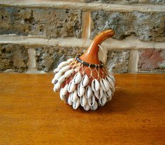 Genuine Tribal African Calabash Gourd Art Cowrie Shell Rattle