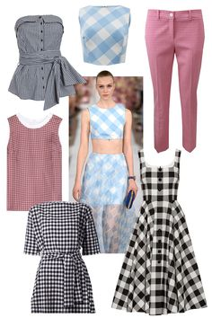 The classic use of gingham last season was seen in the full skirts and girlish tops at Diane von Furstenberg, Oscar de la Renta, and Altuzarra. Forever associated with wholesome, summery activities, this sweet print is perfect for when it finally warms up.  Clockwise: Intermix Gingham Tie Front Bustier, $225; intermixonline.com Oscar de la Renta Buffalo Check CropTop, $890; marissacollections.com Michael Kors Samantha Pant, $595; marissacollections.com Dolce & Gabbana Gingham Cotton-Poplin…