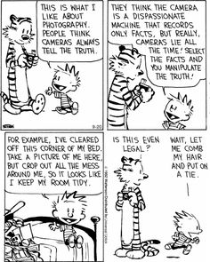 Calvin and Hobbes - cameras always tell the truth. Calvin And Hobbes Comics, Snoopy Comics, Witty Remarks, Life Size Statues, Catholic News, Different Feelings, Tell The Truth, How To Take Photos, Thought Provoking