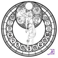 Kida Stained Glass -line art- by Akili-Amethyst