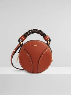 Leather Handle, Leather Bag, Leather Handbags, Round Bag, Designer Shoulder Bags, See By Chloe, Braided Leather, Small Bags, Saddle Bags