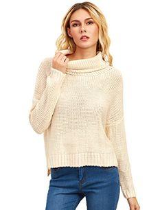 7df64df715 Romwe Women s Turtleneck Casual Long Sleeve Pullover Fall Sweater(One Size)