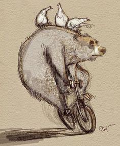 illustration by Dainius Sukyo Art And Illustration, Illustration Inspiration, Illustrations, Character Art, Character Design, Cute Bear, Bicycle Art, Bear Art, Wildlife Art