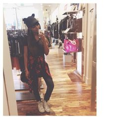 China Anne McClain's mirror selfie with white Converse