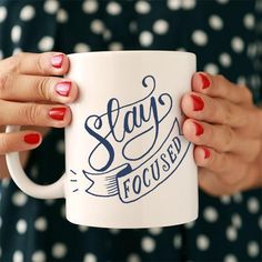 There are a few secrets to stay focused and get things done. Yep, this mug is one of them! - Ceramic - Dishwasher and Microwave safe - Double sided print - 11 oz or 15 oz - White, glossy Processing ti My Coffee, Coffee Cups, Tea Cups, Boss Coffee, Coffee Talk, Drink Coffee, Coffee Lovers, Cute Mugs, Stay Focused