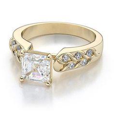 Art Deco Asscher Cut Diamond Engagement Setting in 18k Yellow Gold (.40ctw)