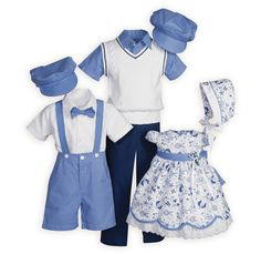 Matching Brother and Sister Clothing Made in USA Blue Delft Floral & Checks Matching Brother-Sister Outfits