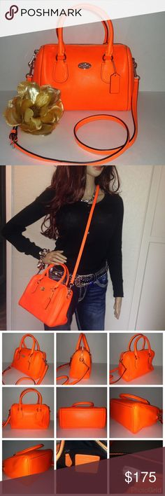 "Coach Orange Mini Bennet Satchel Crossbody F34697 Don't forget to bundle & save. 💝💝💝FOLLOW ME and please check out my other listings for more amazing Coach items. Love love love this bag. Features dual top handles with 7"" drop and a detachable shoulder strap allowing convenient hands-free carrying option. Gorgeous orange. New without tags. Includes Coach dustcover, hangtag, and detachable strap. Coach Bag Registration No. M1480-F34697 Coach Bags Satchels"