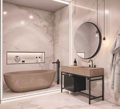 contemporary bathroom Interior Design Using Marble And Wood Combinations Modern Contemporary Bathrooms, Modern Bathroom Design, Bathroom Interior Design, Contemporary Decor, Bath Design, Contemporary Wallpaper, Contemporary Toilets, Modern Design, Contemporary Cottage