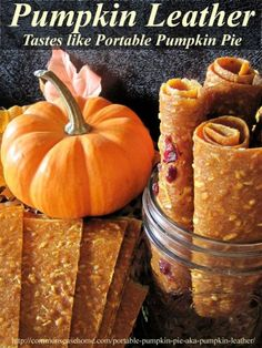 This dried pumpkin leather is a tasty, easy to make snack that tastes like pumpkin pie. Nutritious, portable, and doubles as a way to store extra pumpkin. Do in a dehydrator. Pumpkin Recipes, Fall Recipes, Real Food Recipes, Snack Recipes, Yummy Food, Dehydrated Food Recipes, Pumpkin Pumpkin, Delicious Meals, Pumpkin Dessert