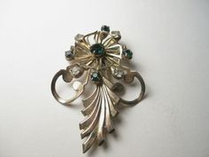 Vintage 40-40's Art Deco Pinwheel/Featherish Brooch, Goldtone with Rhinestones - #Unsigned