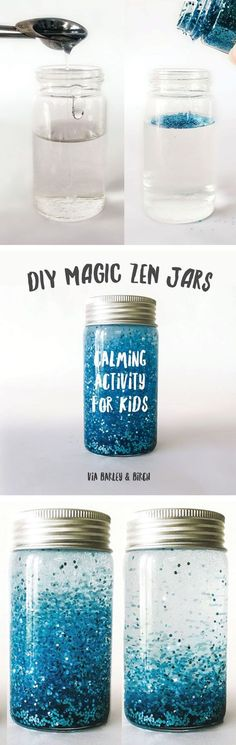 DIY magic zen jar to help calm kids and sneak in a little meditation prac. a DIY magic zen jar to help calm kids and sneak in a little meditation prac. DIY Galaxy Mason Jar How To Make The Coziest Blanket Fort Ever // 5 Genius Paint Hacks Cute Crafts, Crafts To Do, Crafts For Kids, Arts And Crafts, Diy Projects For Kids, Calming Activities, Activities For Kids, Mason Jar Crafts, Mason Jars