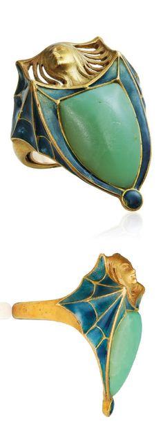 RENÉ LALIQUE - AN ART NOUVEAU TURQUOISE AND ENAMEL RING, CIRCA 1900. Modelled as a batwoman, the body as a cabochon turquoise, the wings applied with green and blue enamel, with French assay mark for gold, signed Lalique.