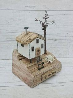 STEEP STEPS Handcrafted original artwork by DriftwoodSails 🌊 A whitewashed co. Wooden Cottage, Coastal Cottage, Coastal Decor, Coastal Homes, Coastal Living, Painted Driftwood, Driftwood Art, Putz Houses, Wood Houses