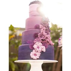 Purple Ombre Wedding Ideas ❤ liked on Polyvore featuring food, pictures, wedding and wedding cakes