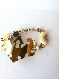 Key Hole Cuff Bracelet, Gold Cuff, Shabby Chic Bracelet