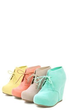 SO CUTE! Suede Laced Wedge Ankle Booties LEMON YELLOW. I already have them in Barney purple and I LOOOOOVE them