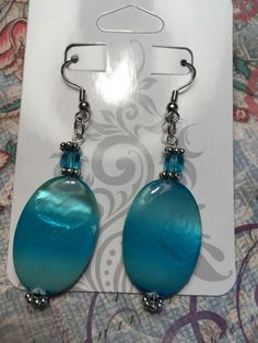 """Heart of the Ocean"" Earrings on Sale at my Etsy Shop for $12.00 a pair.   #beach #summer #ocean #heart #blue #green #earrings #handmade"