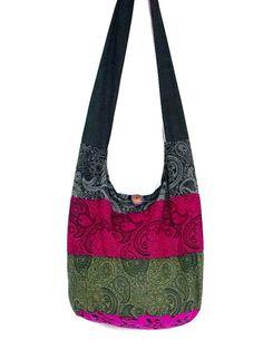 14c3faac25c0 Hobo Boho Hippie Bag Purse Crossbody Paisley Print Cotton Messenger Large  Bag Vegan Colorful Bag Simple Patchwork Black Dark Pink Green
