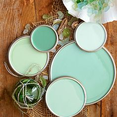 """•Sea Glass Green Paint Colors L.A. designer Sasha Emerson may have finally pinpointed why so many of us love, even obsess over, this soft blue-green color: It makes you feel good, which is why you see it in a lot of spas, Emerson says. If the ideal color is just in your head, """"think pale, because if you go too bright you're heading into turquoise or mint."""" Love these colors? Click here to get the paint color names."""