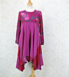 This Beautifully Feminine Dress is so flattering and flows as you walk. It is created from Jersey Knit Fabric with a Lettuce Edge on all seams with coordinating Thread. Long sleeves are so appropriate for coming weather. Bust: 18 inches lying flat or 36 inches around with some