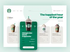 Starbucks website designed by Designkes. Connect with them on Dribbble; the global community for designers and creative professionals. Design Café, Web Design Trends, Layout Design, Graphic Design, Midnight Mint Mocha Frappuccino, Starbucks, User Interface Design, Web Design Inspiration, Motion Design