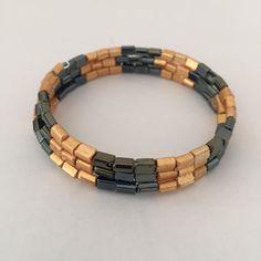 Glass Bead Memory Wire Bracelet by SharonsJewelBox on Etsy