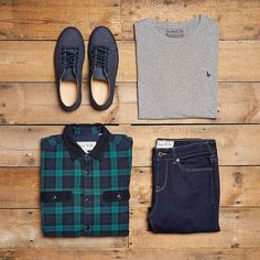 Gentlemen, get weekend ready for todays ‪#‎OOTD‬. The Quainton flannel Shirt & The Newtown Suede Plimsole.