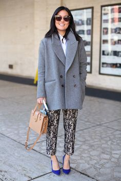 wooly coat, printed trousers, blue shoes  We love the oversized coat, feminized by the ink blue courts - beaut! - www.tsesay.com