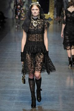 Lace knee highs. Dolce & Gabbana Fall 2012