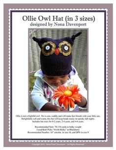 Ollie Owl Hat Pattern PDF by nonapearl on Etsy, $5.00 Making for co-workers kids.