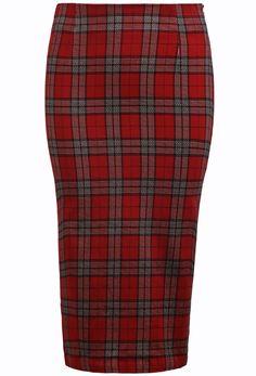 Red Split Plaid Bodycon Skirt