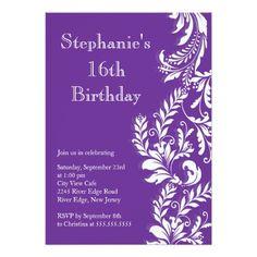 Elegant Modern Sweet Sixteen Birthday Party Card