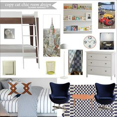 Deanna Marano | A shared boys room for under $4,000.  Features client's dresser (ikea), cars print, brass lamp and throw.