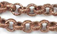 Antique Copper Chain _#74: 6.5mm Large Etched Rolo Chain by the foot at ohiobeads.com