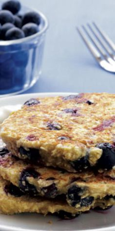Blueberry Oat Pancakes with Maple Yogurt  - These do-it-all recipes keep you full and satisfied