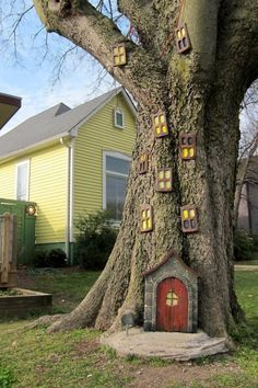 idee-deco-jardin-a-faire-soi-meme-conte-de-fée-porte-en-bois-miniature-fenêtres-mini-sur-arbre-de-jardin