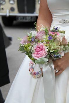Colour Theme - pink and green - Vintage Wedding Bouquet & Button Horseshoe