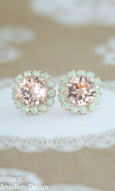 Mint and peach wedding | peach and mint wedding | peach bridesmaid earrings | mint bridesmaid earrings | peach wedding jewelry | peach wedding | mint wedding | www.endorajewellery.etsy.com - Gift for women and girls, wedding