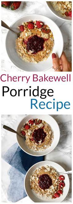 Cherry Bakewell Porridge recipe #cherry #bakewell #porridge #oats #recipe #healthy #vegan #glutenfree