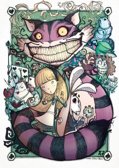Crazy Alice in Wonderland illustration - great style, a bit weird not too sugary cute! Lewis Carroll, Arte Disney, Disney Pixar, Cat Alice, Alice In Wonderland Illustrations, Chesire Cat, Cheshire Cat Art, Alice Madness Returns, Adventures In Wonderland