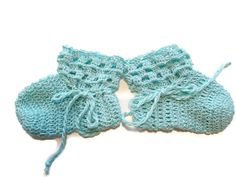 Baby Booties Aqua Baby Shoes Crochet Booties 3 and by Crochet50, $6.99