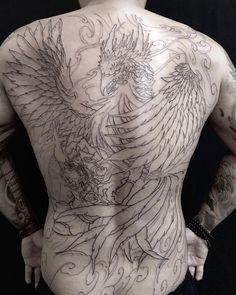 #irezumi #orientaltattoo #asiantattoo #japanesetattoo #asian_inkandart #irezumicollective #tattooistartmagazine #thebesttattooartists… Foo Dog Tattoo Design, Phoenix Tattoo Design, Tattoo Designs, Full Tattoo, Full Back Tattoos, I Tattoo, Irezumi Sleeve, Japanese Back Tattoo, Tattoo No Peito