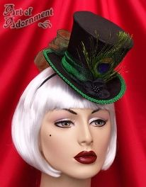 Absinthe Victorian Peacock Black Satin Mini Top Hat - Art of Adornment