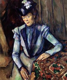 Lady in Blue (1900) by Paul Cézanne, oil on canvas, (nocoka)