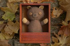 Cloves teddy Dark Brown wooden box custom gift scented by AbbuToys