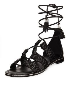 9965ded79604 X3QWJ MICHAEL Michael Kors Monterey Woven Lace-Up Flat Gladiator Sandal Flat  Gladiator Sandals
