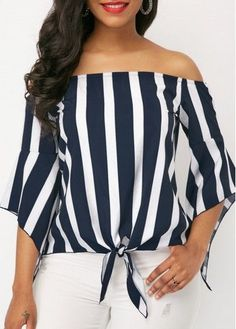 Stripe Print Off the Shoulder Navy Blouse